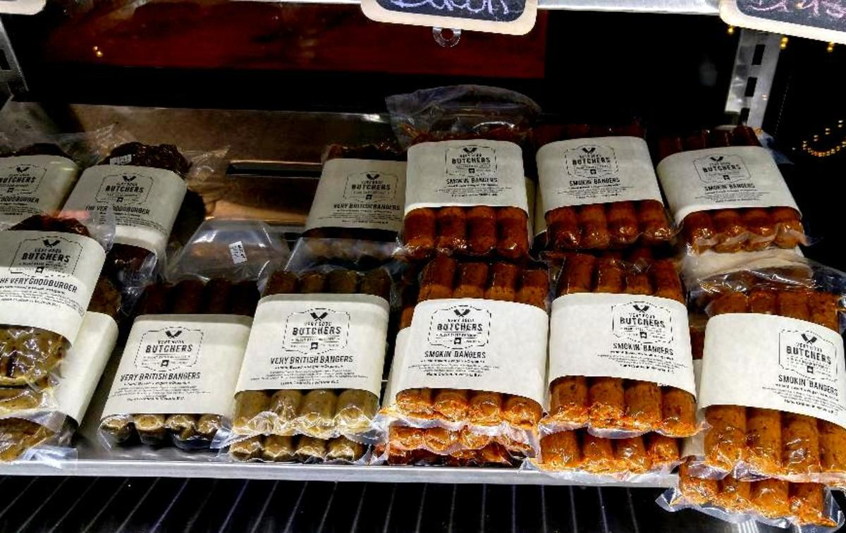There are several vegan sausages on the market. If you make your own you will save a considerable sum, but, if you want a treat, the popular commercial brands are there. Sausages above are in the showcase at The Very Good Butcher Shop, Victoria, BC