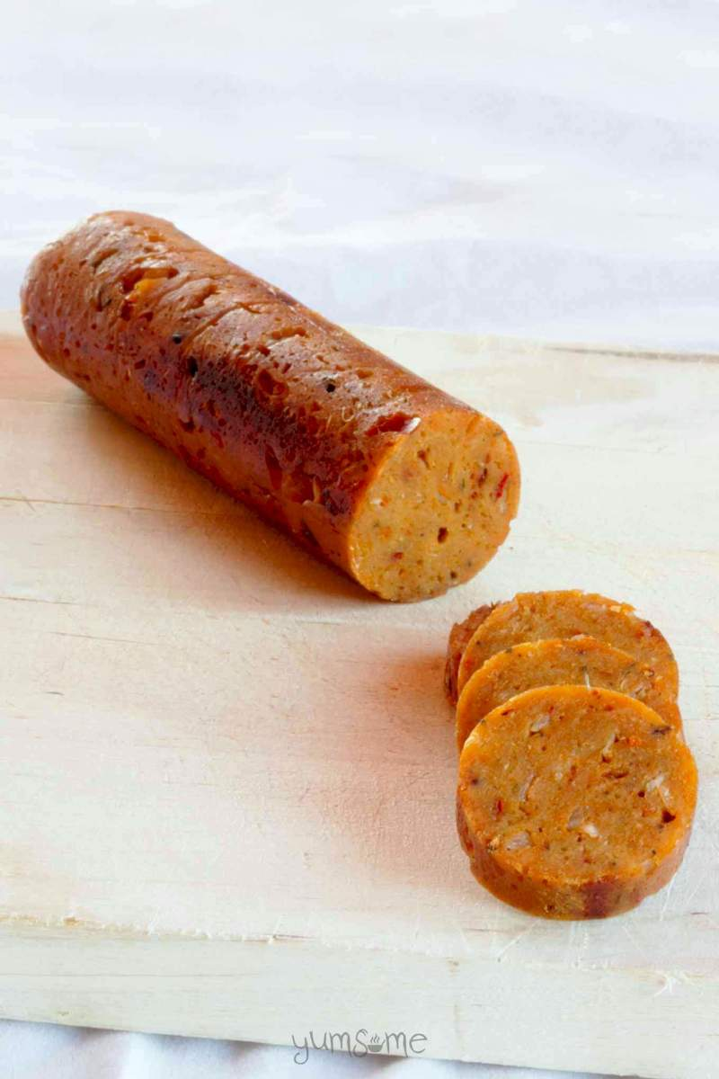 "This is billed as ""The World's Best Vegan Sausage"" by the Yumsome author.  It is very firm and ""customizable"" to different sausage varieties such as Italian Spicy or Smoked Garlic..."