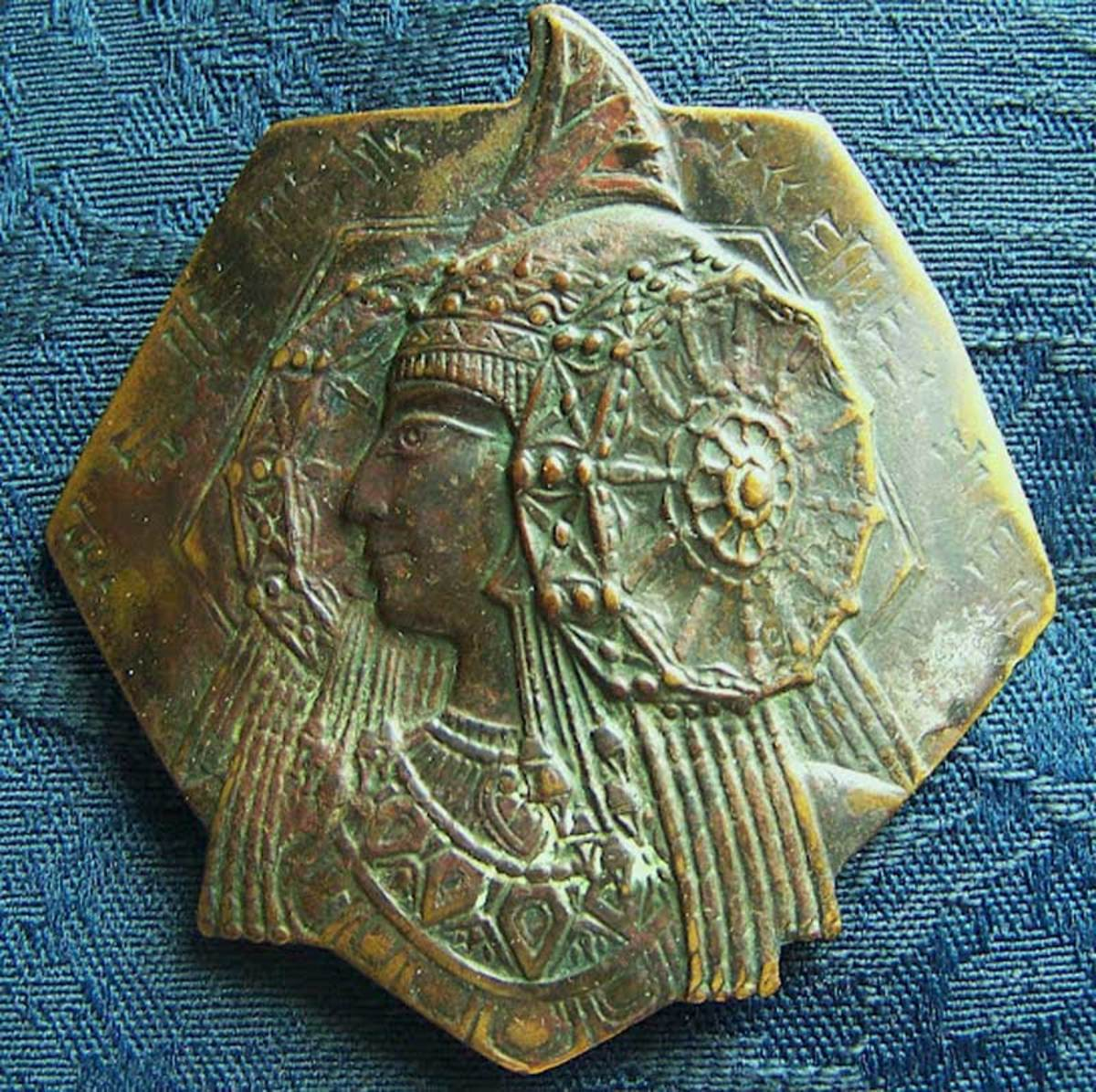 This copper medallion was found by a man digging a trench for a sewer line about six and half feet down in Utah, in 1966.