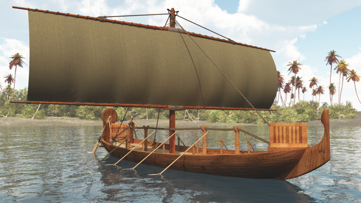 The artists depiction of an Egyptian sailing ship, also included oars for times of no wind.