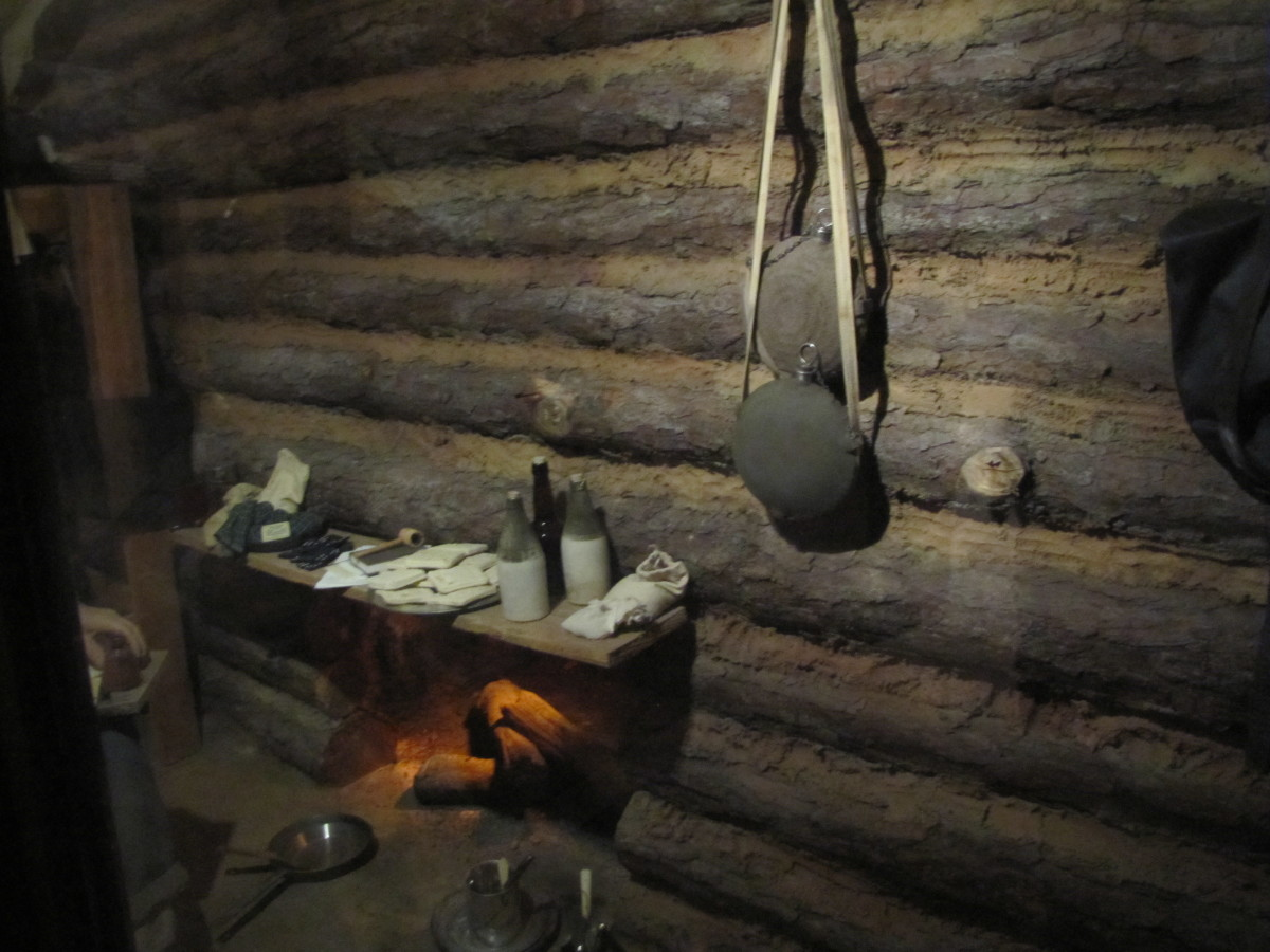 Interior of a cabin like the troops would have crowded into for the winter during the Civil War. (Petersburg, Virginia)