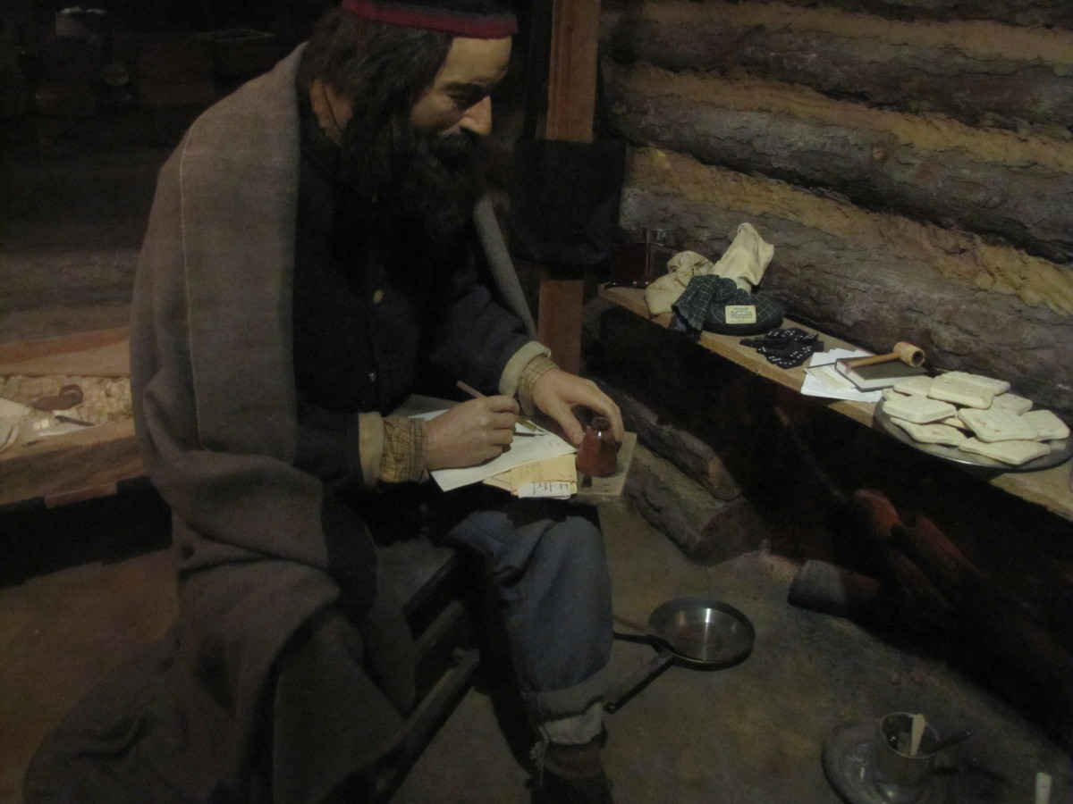 Scene at the Civil War museum in Petersburg, Virginia, showing the interior of a cabin serving as winter quarters.