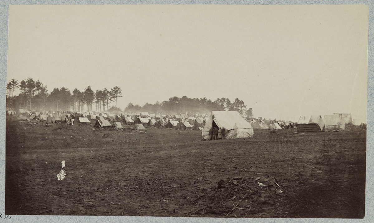 The troops and camp workers had varied shelter with some log structures, mostly tents though.