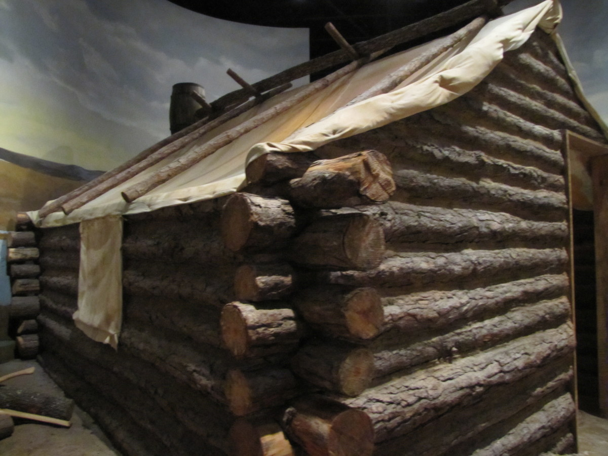 I saw this example in a Civil War museum which shows a log structure with a canvas roof.