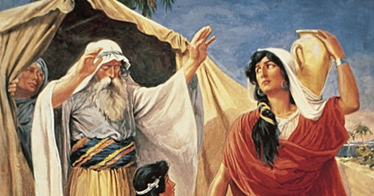Abraham put a skin of water on Hagar shoulder and gave her bread to go into the desert.