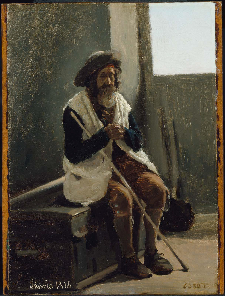 Painting of old man sat outside