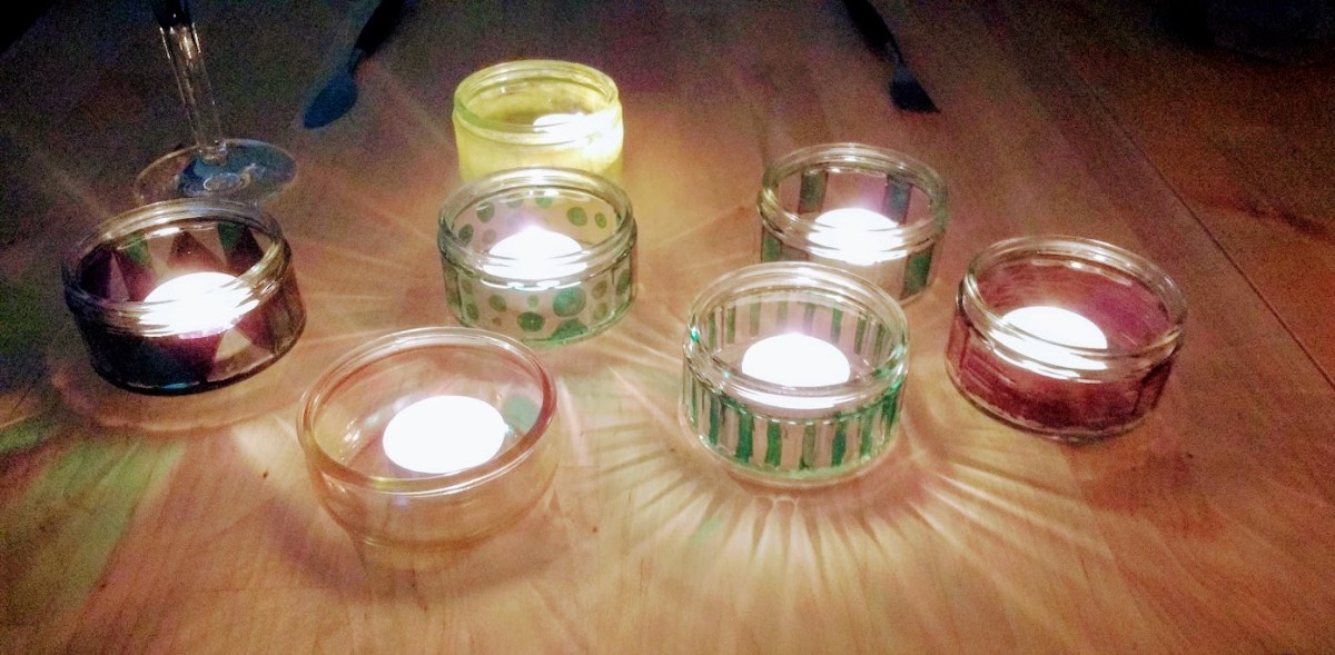 My self decorated tealight holders