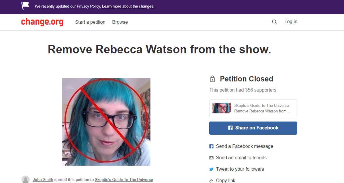 Someone just made a request in change.org to remove Rebecca Watson in a Youtube channel.