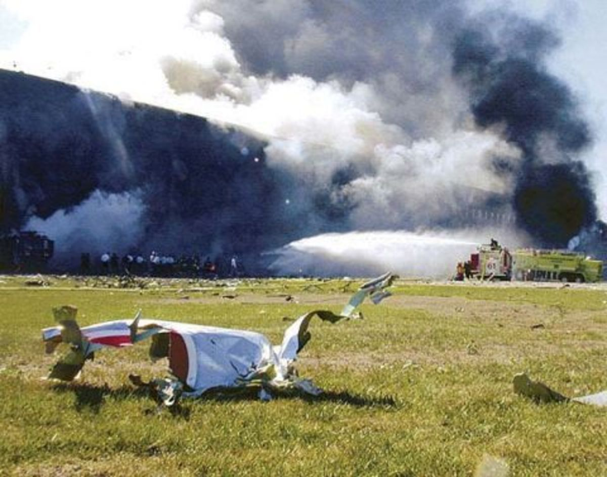 The Pentagon is hit and engulfed in flames.
