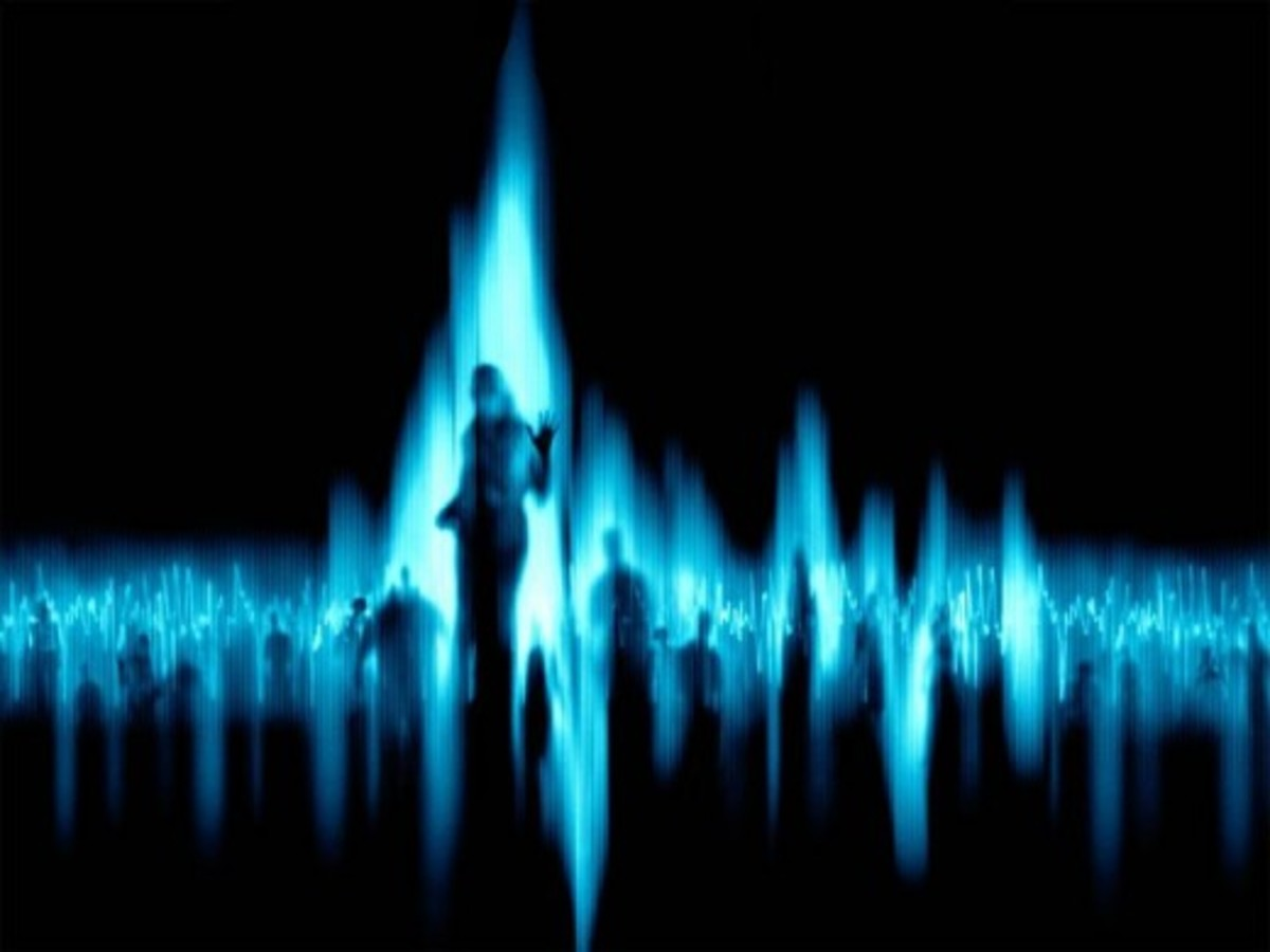 An EVP recording can be displayed visually with linear waves representing voices on a recording.