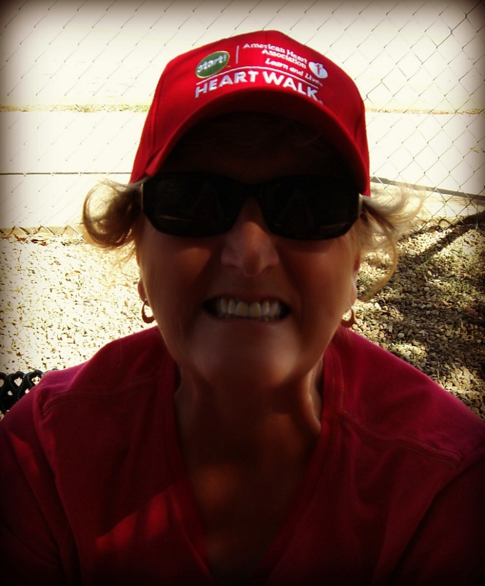 My mother at a AHA Heart Walk a few years ago. She received a survivors hat :-)