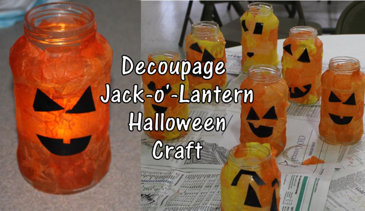 Decoupage Jack-o'-Lantern Halloween Craft Art Lesson for Early Elementary