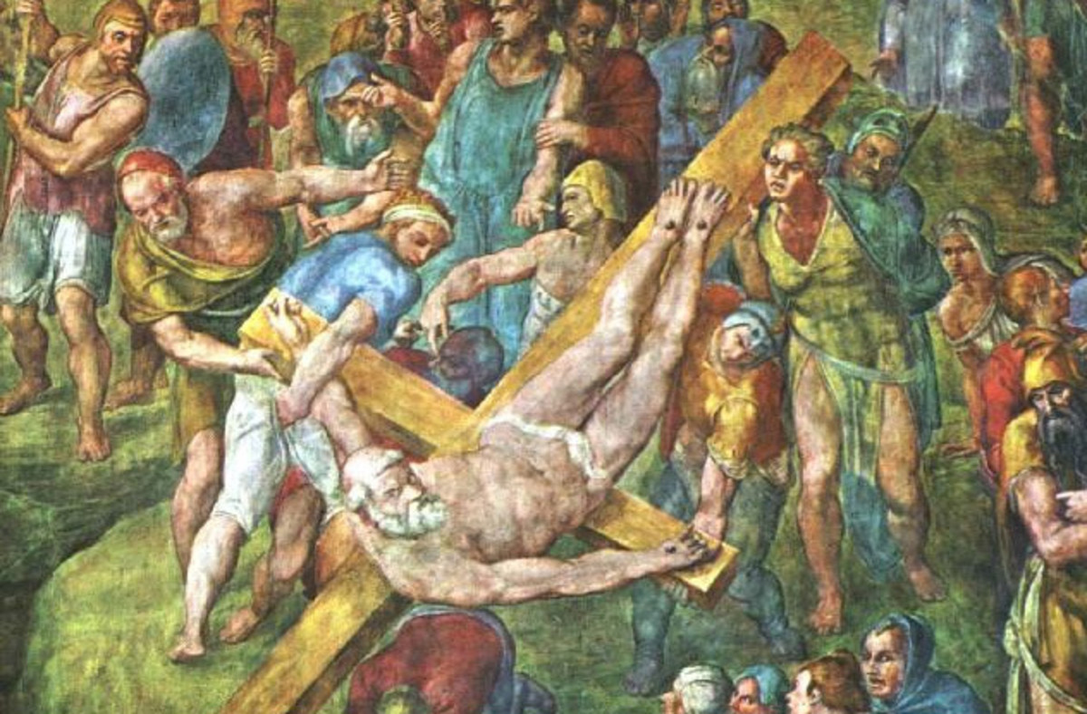 St. Peter being crucified on the Perine Cross