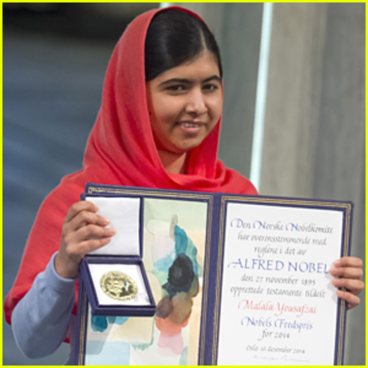 Malala Yousafzai with Nobel Peace Prize