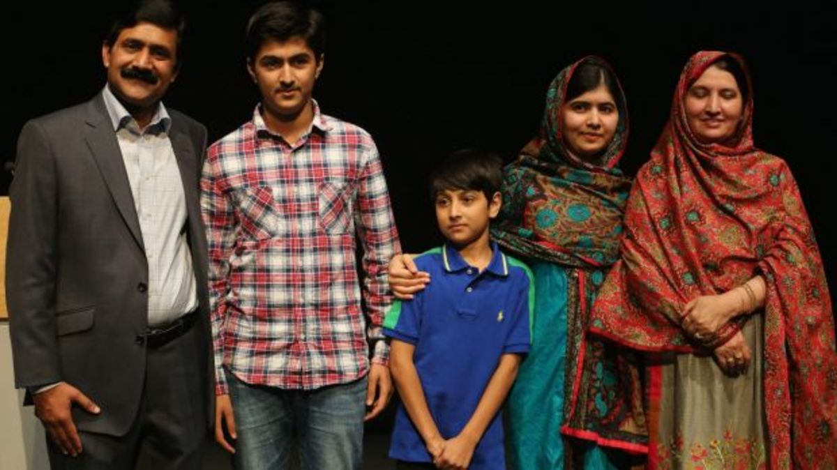 Malala Yousafzai with her family
