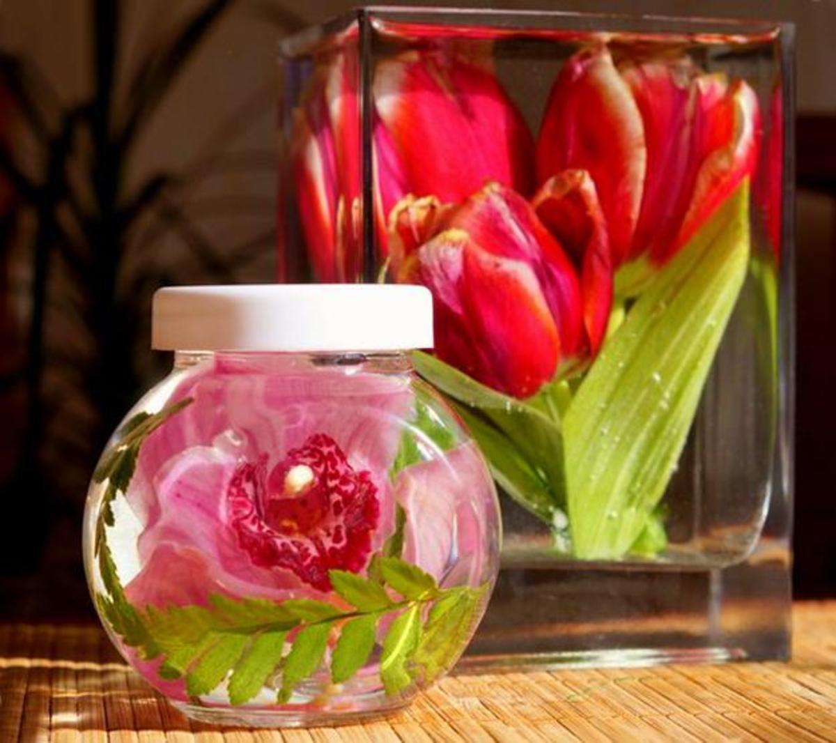 Flowers preserved in glycerin
