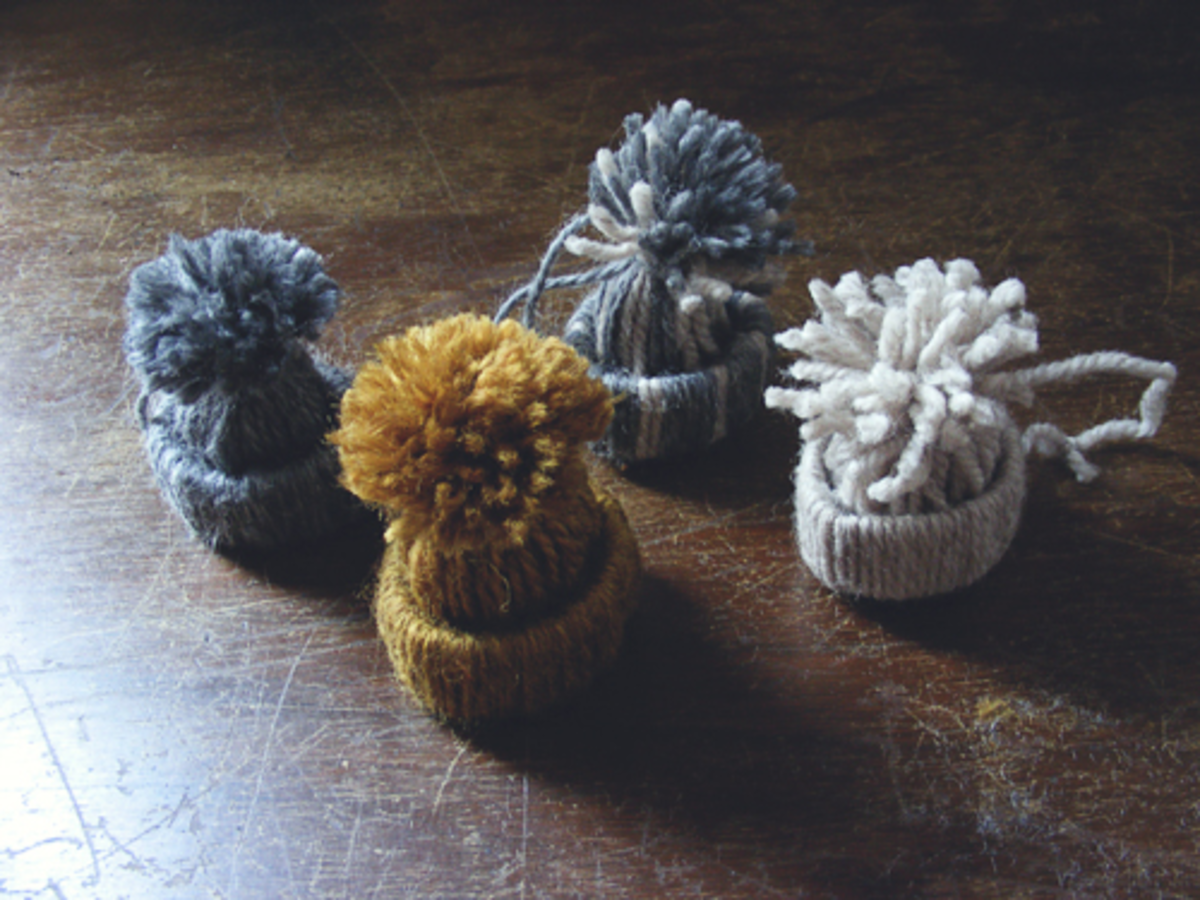 Winter hat ornaments are a perfect way to use left over yarn scraps