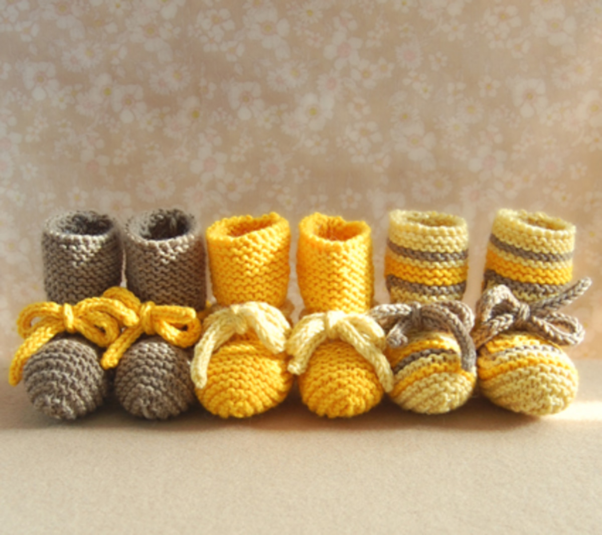 Adorable Knit Booties made with one skien of yarn
