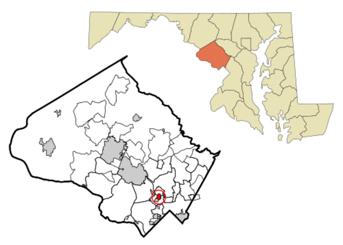 This map shows the incorporated and unincorporated areas in Montgomery County, Maryland, highlighting Kensington in red.