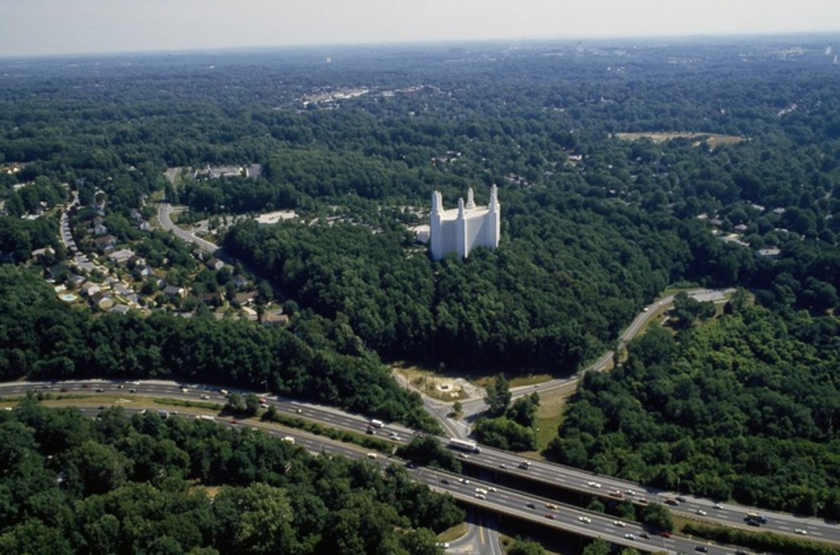 Aerial of the Mormon Temple in / near Bethesda, Maryland