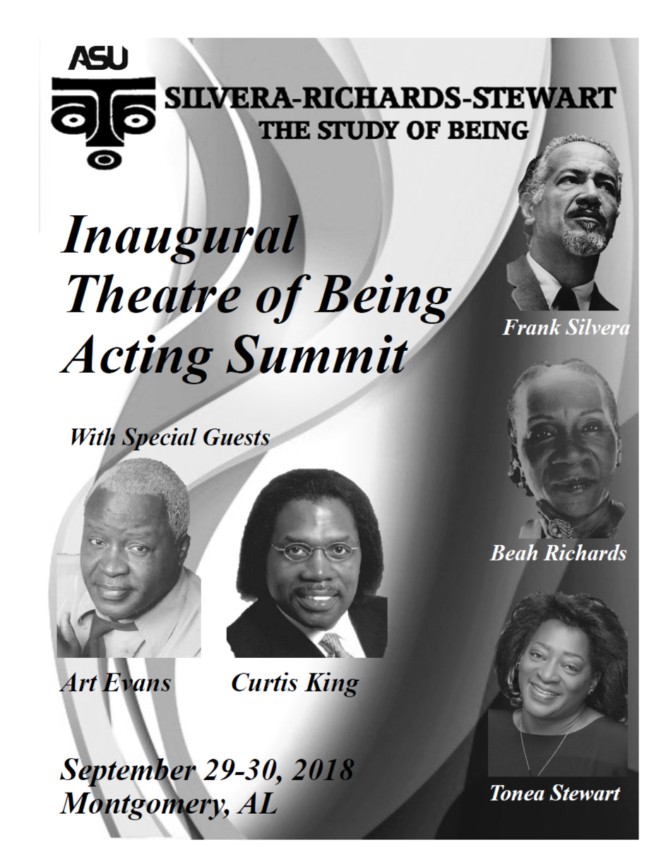 The cover of the Inaugural Theater of Being Summit at ASU with special guests, Art Evans and Curtis King.