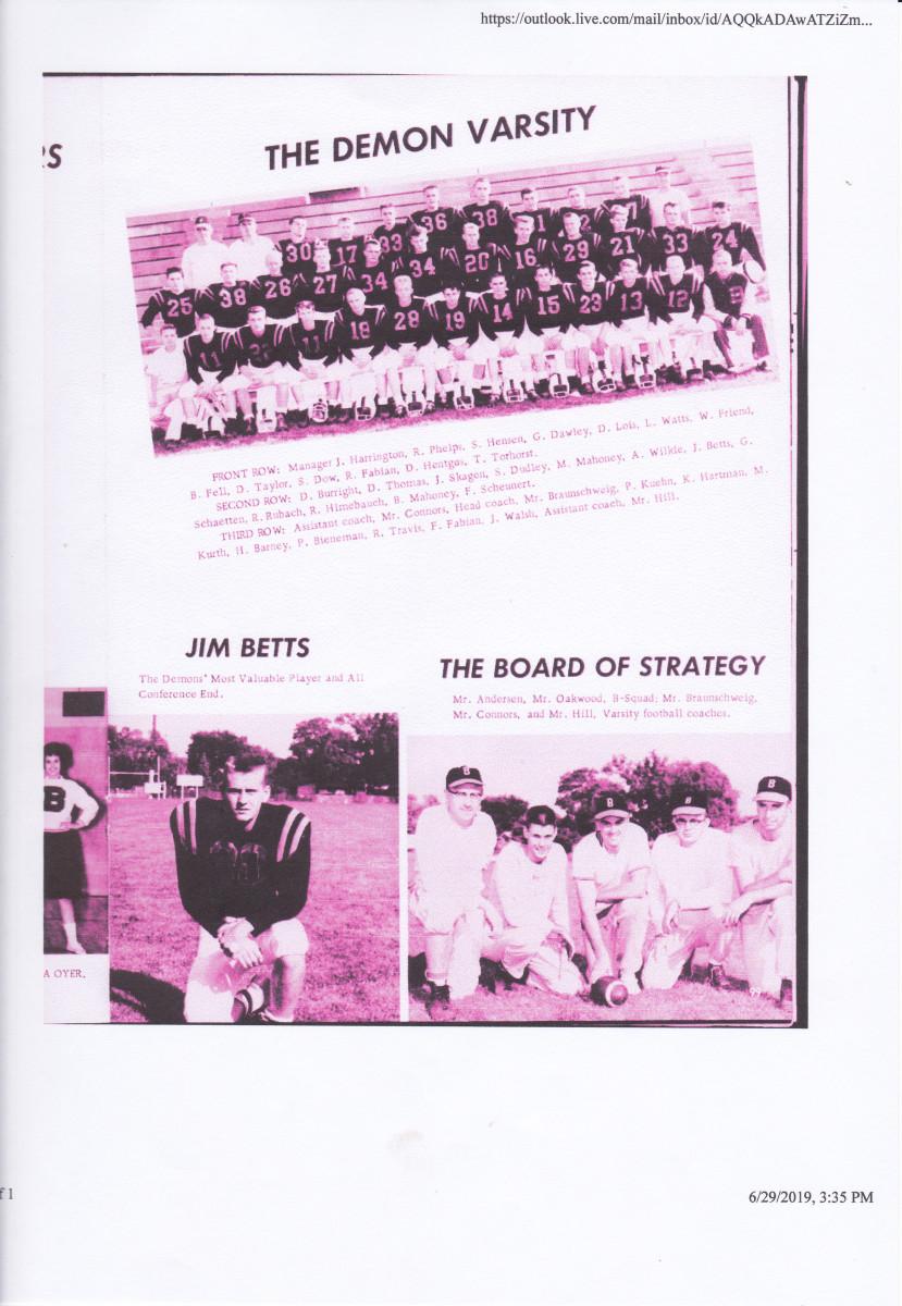 1960 Burlington High School Football Team Official Photo