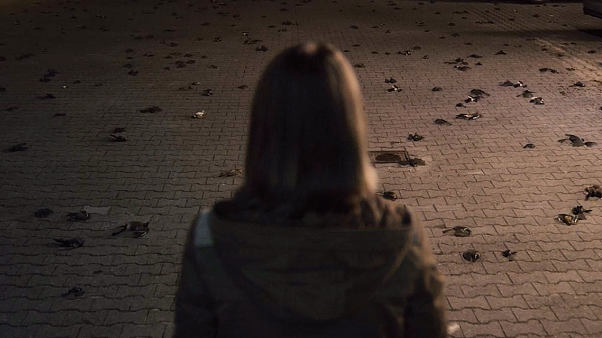 Charlotte Doppler stands outside the police station after a freak electrical surge that leaves the parking lot littered with dead birds in 'Dark' (2017), a Netflix Original Series.
