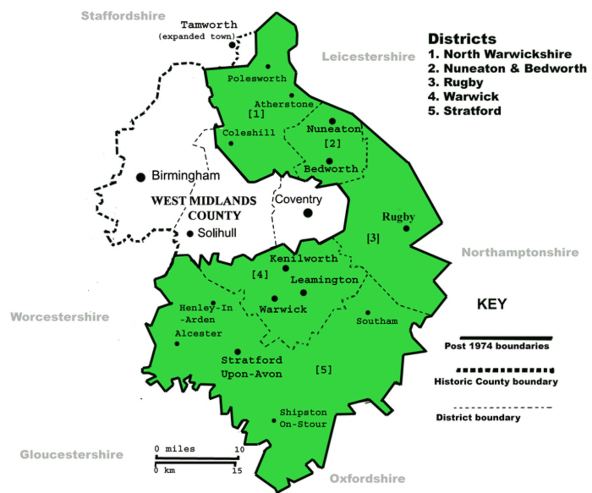 A map showing the modern administrative areas of Warwickshire and the West Midlands- the boundaries of both are drastically different to the historic county of Warwickshire.