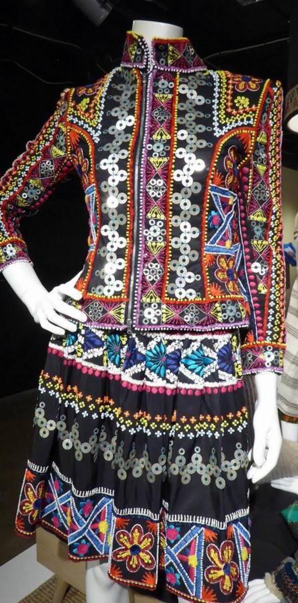 Design by Naeem Khan inspired by a visit to Peru - silk, satin, velvet, breads.