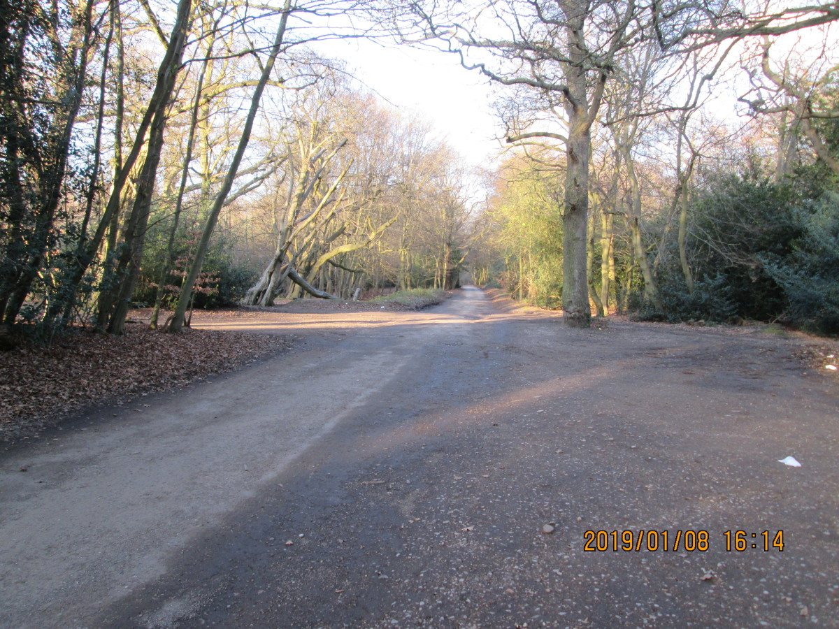 This road kinks a little to the left, although is fairly straight and - but for a hummock to deter motorists - reaches the main road opposite the entrance to the City of London Forestry Depot on the  east side of the A104