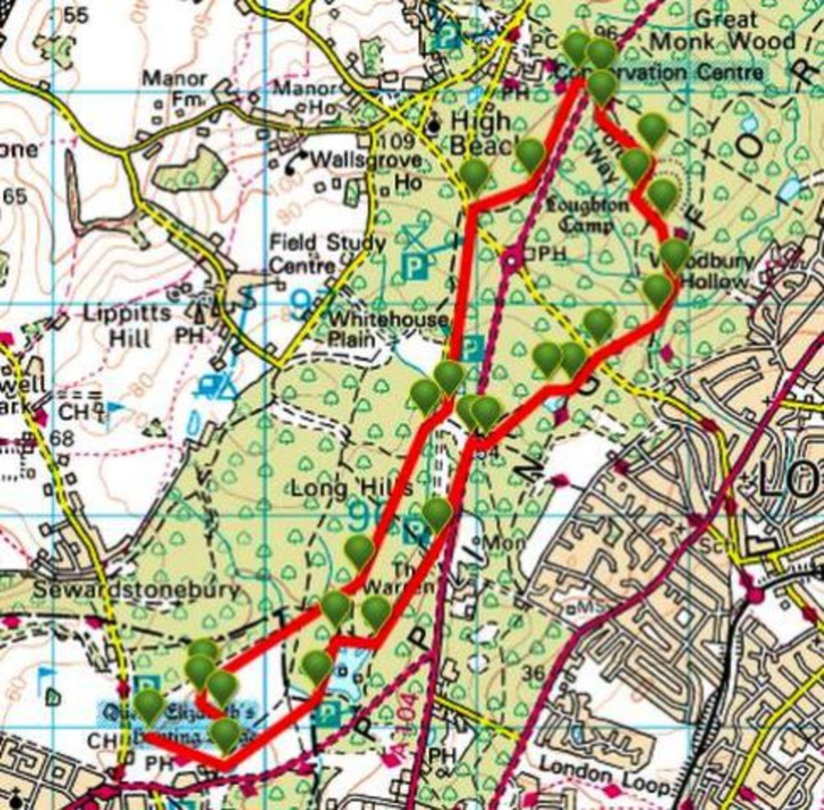 ViewRanger map of walks and walk features in the area of Epping Forest featured on this page