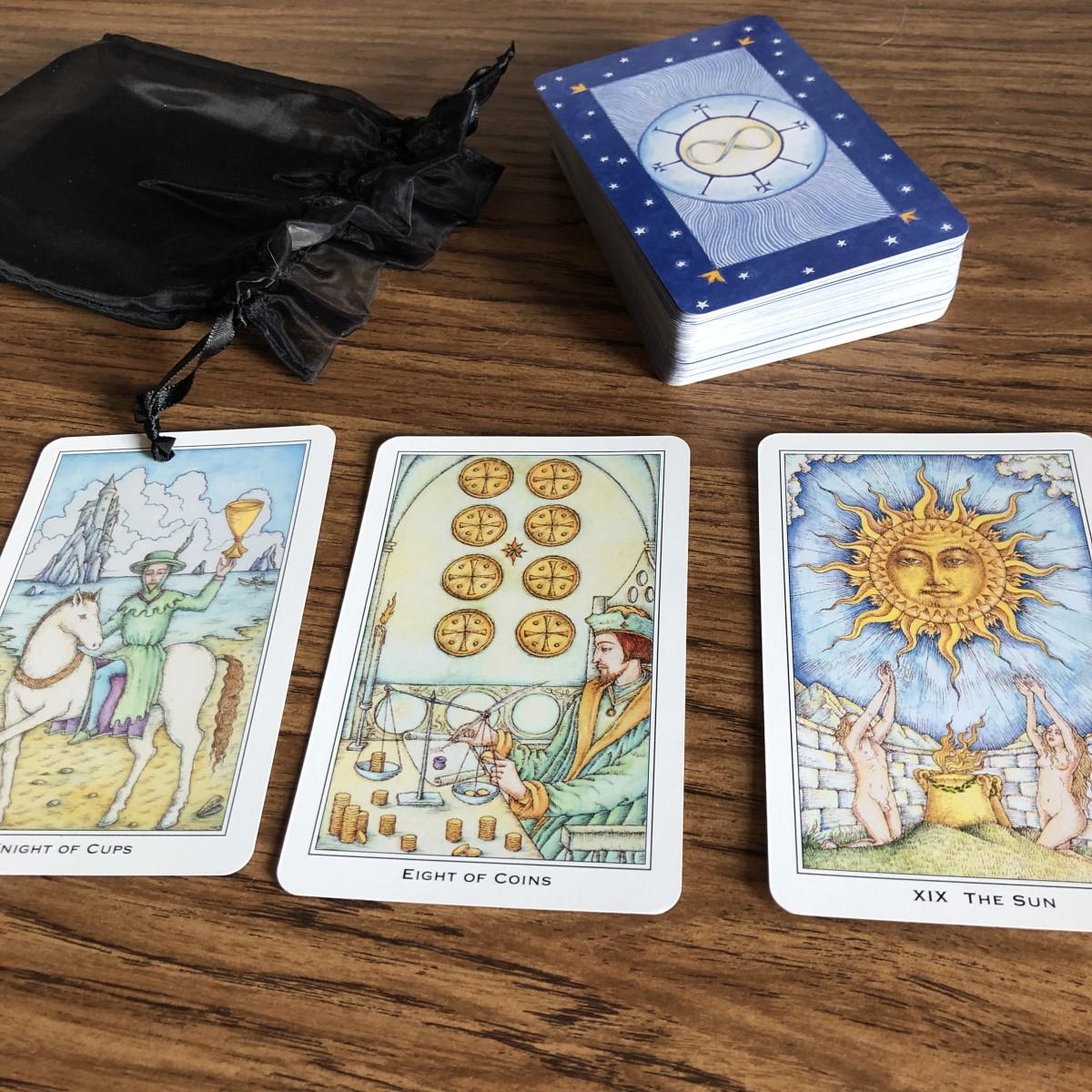 A pretty deck of tarot cards.