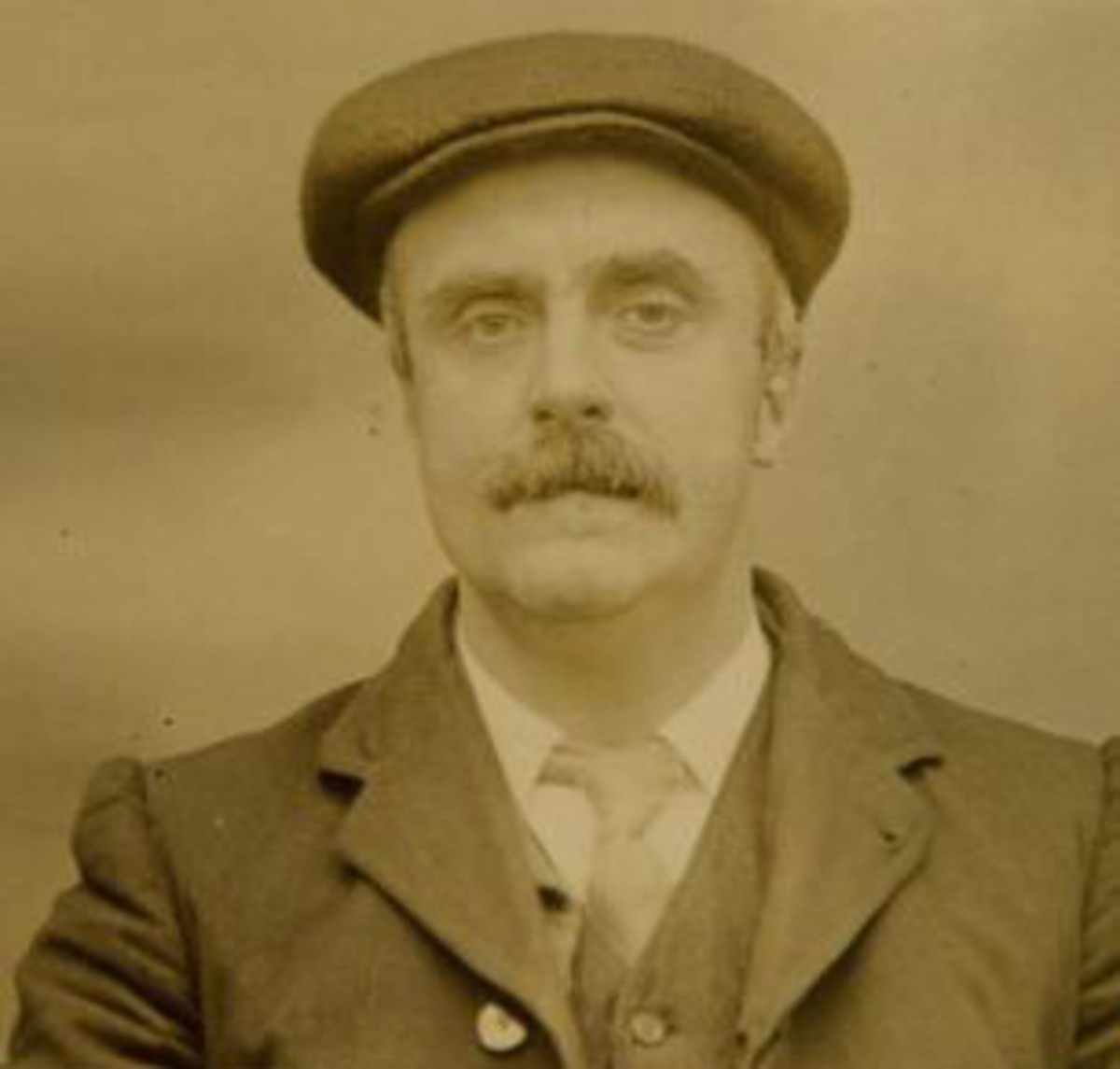 A police mugshot of Thomas Gilbert, the real life leader of the Peaky Blinders.