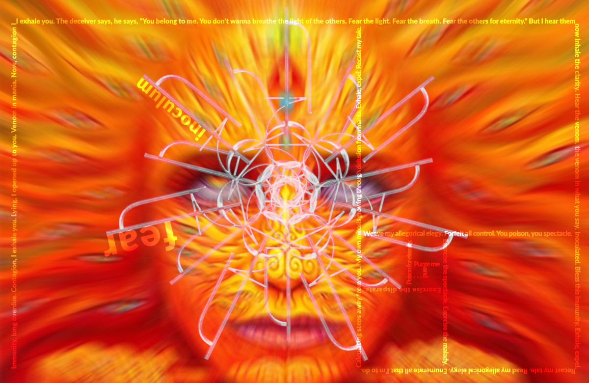 I produced this digital composite using Alex Grey's art, the lyrics to Fear Inoculum, and a heptagram rotation of Tool's 2019 logo.