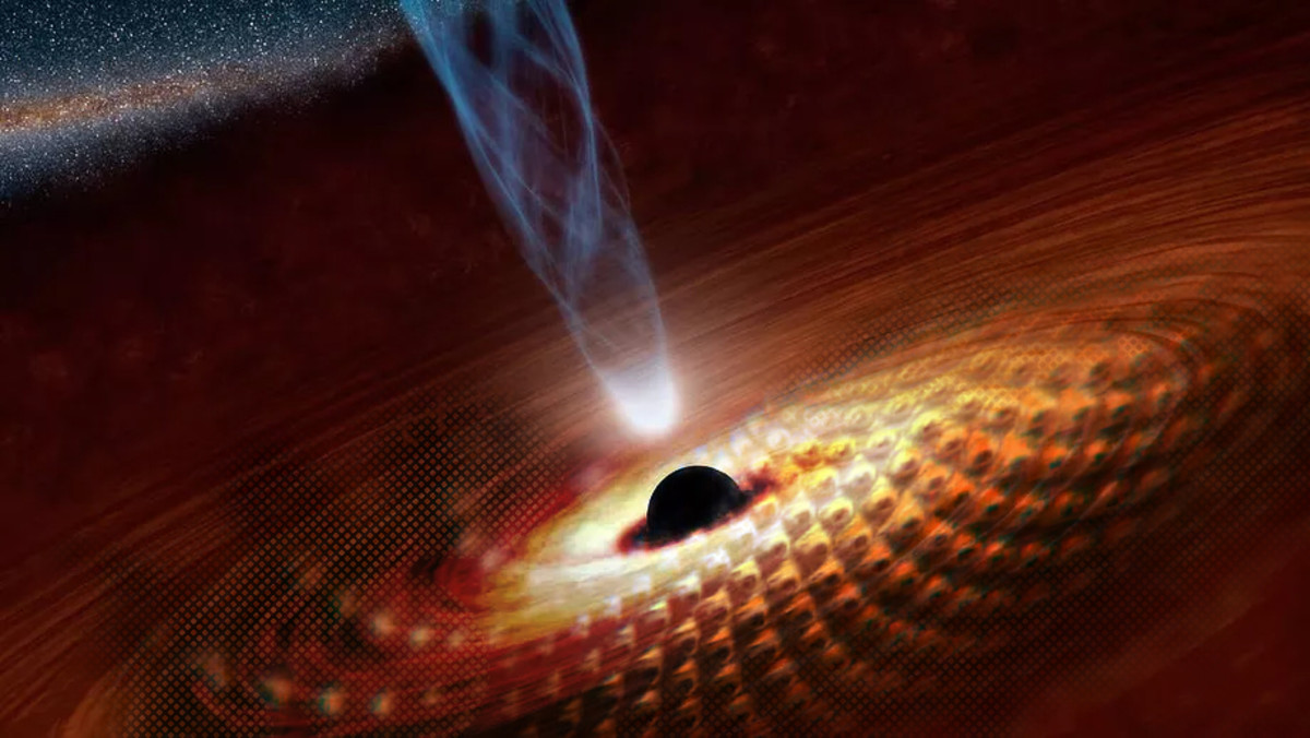 The eye-scales of Tool's Fear Inoculum album art overlayed on a NASA artistic rendering of a black hole.