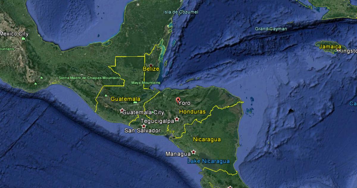 The Yoro region of Honduras in Central America.