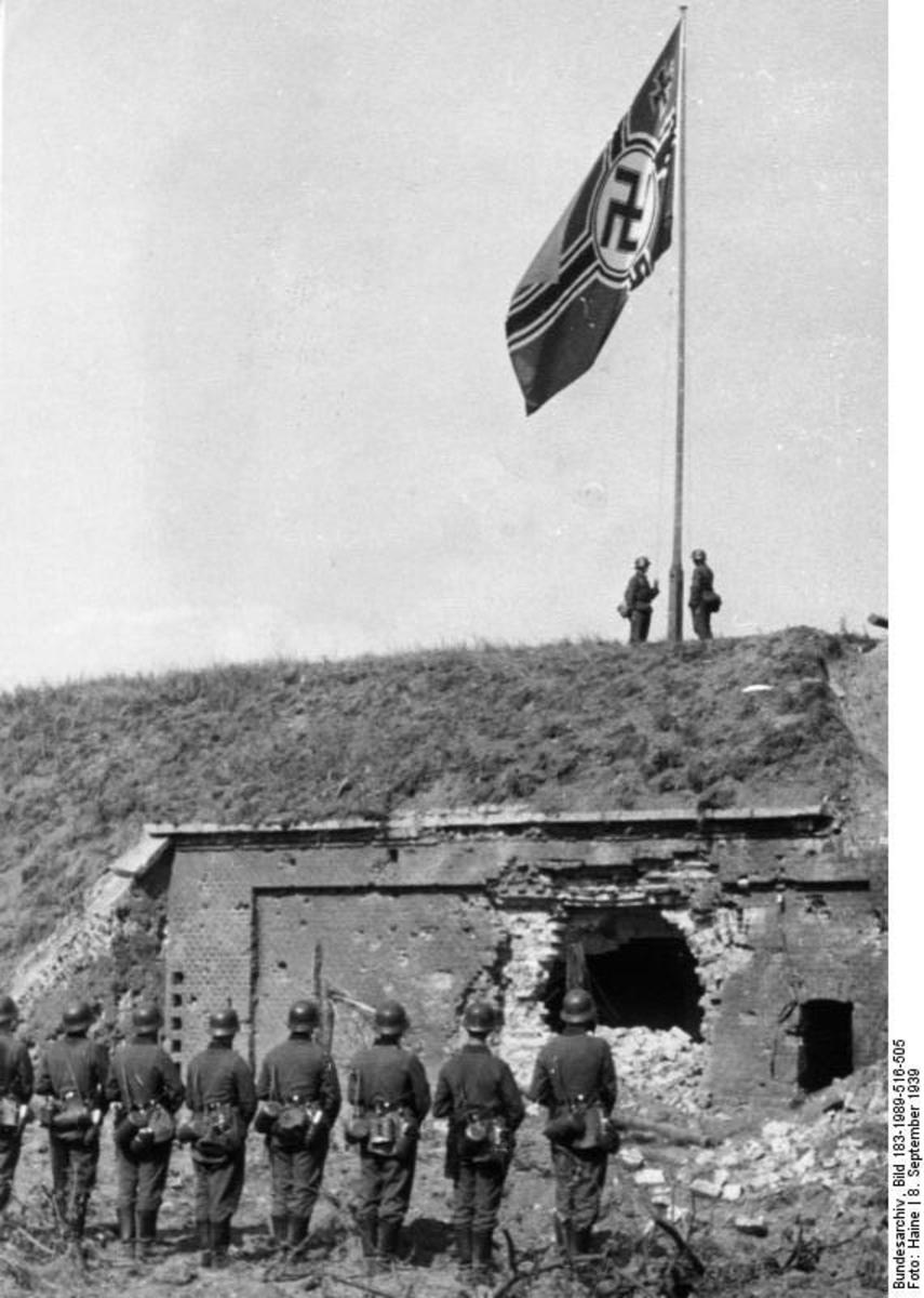 German flag being raised over Westerplatte on September,8 1939.