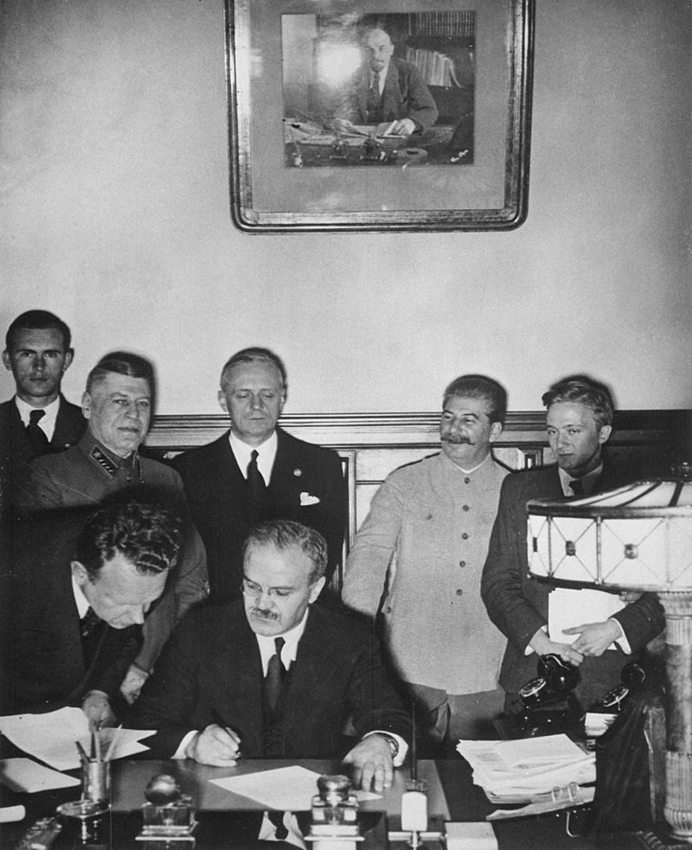 Russian Minister of Foreign Affairs  Vyacheslav Molotov signs the Molotov–Ribbentrop Pact, a German–Soviet non-aggression pact August 23,1939.