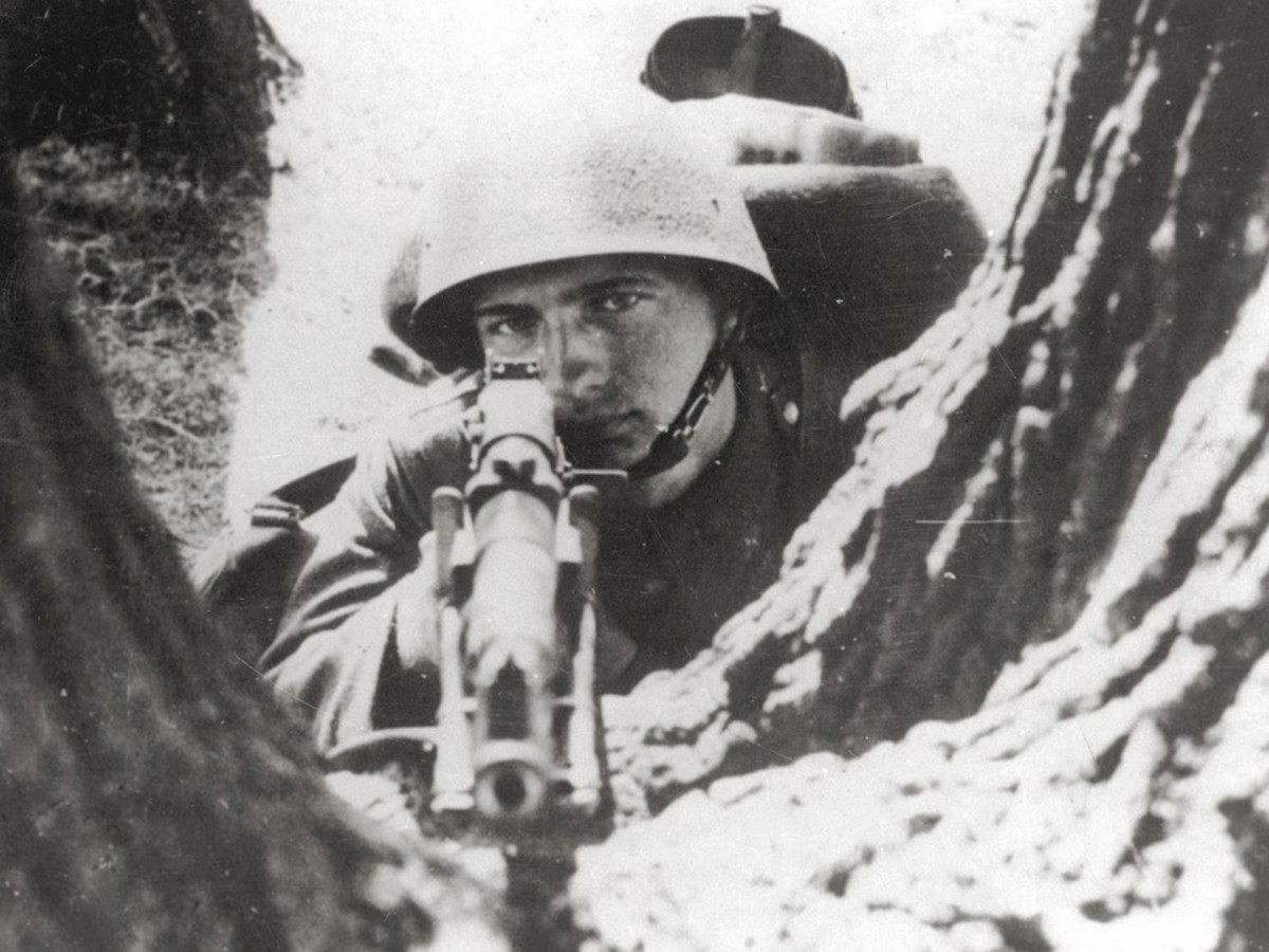 A doomed Polish infantry man waiting for the German attack on his position.