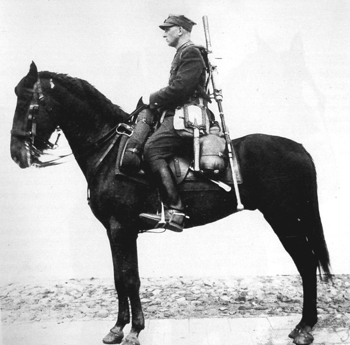 A polish cavalryman with an anti-tank rifle which would prove useless against Nazi tanks.