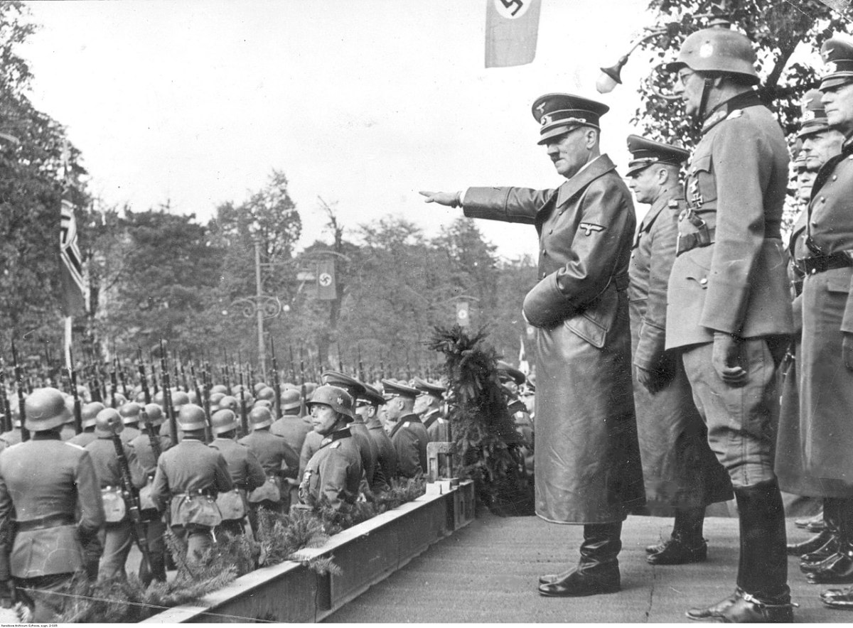 Hitler greeting victorious German troops in Warsaw October 5,1939.
