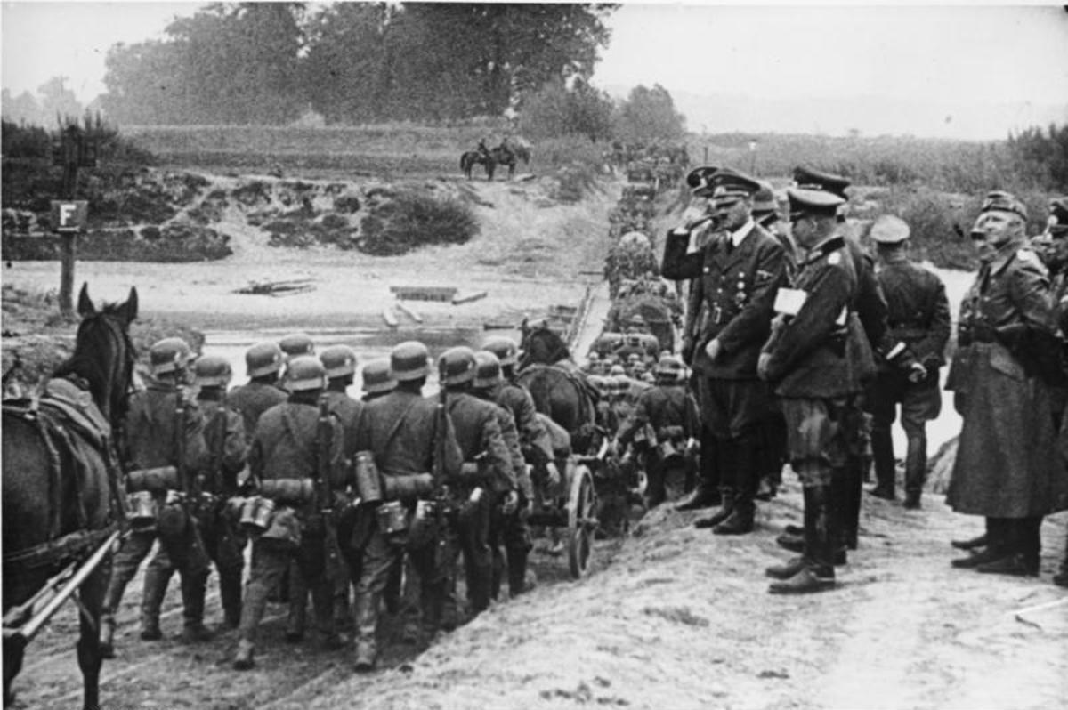 Hitler greets troops on the attack in Poland. He would follow the invasion from his command train near the front-line during the invasion.