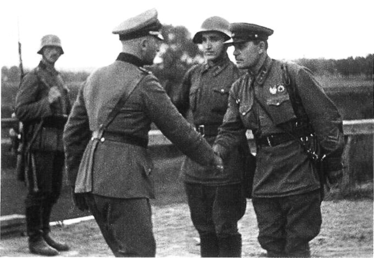 German and Soviet officers shake hands near Brest-Litovsk Poland near the end of the invasion.