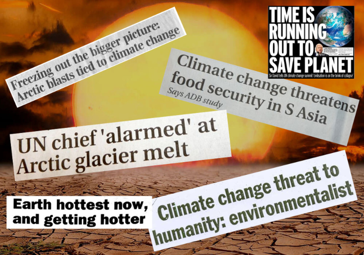 Photo compiled by Robert G Kernodle showing climate emergency news headlines