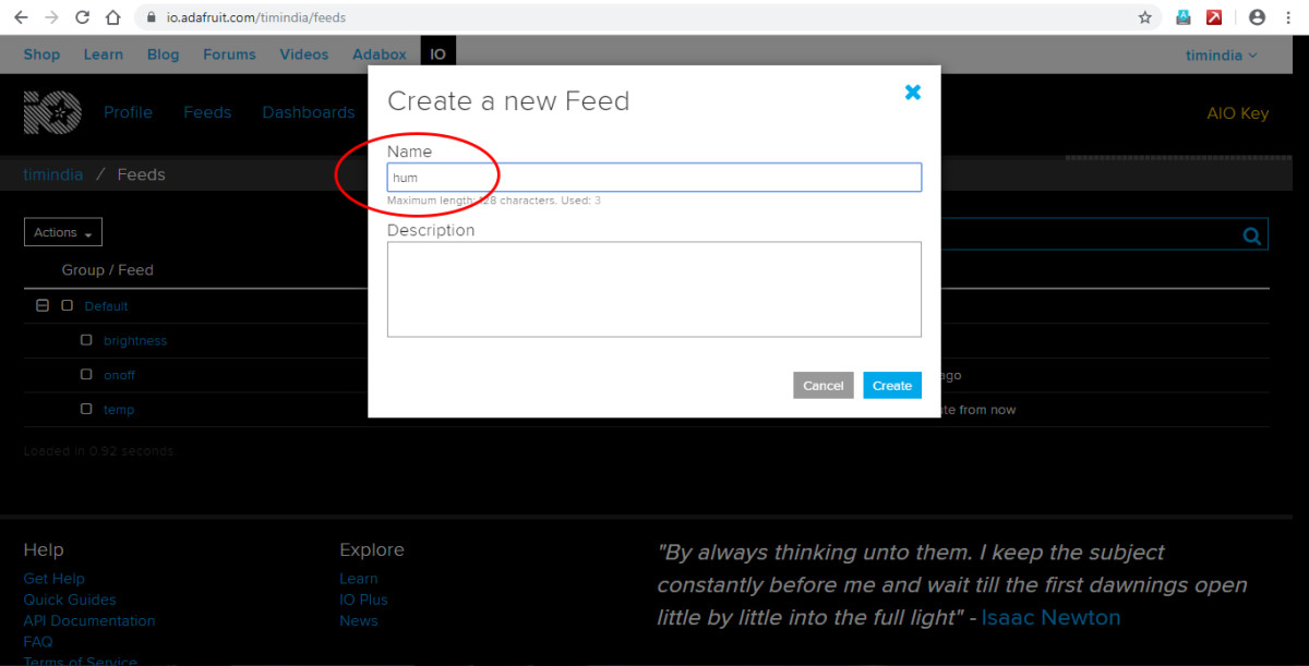 Create another new feed in the Adafruit dashboard.