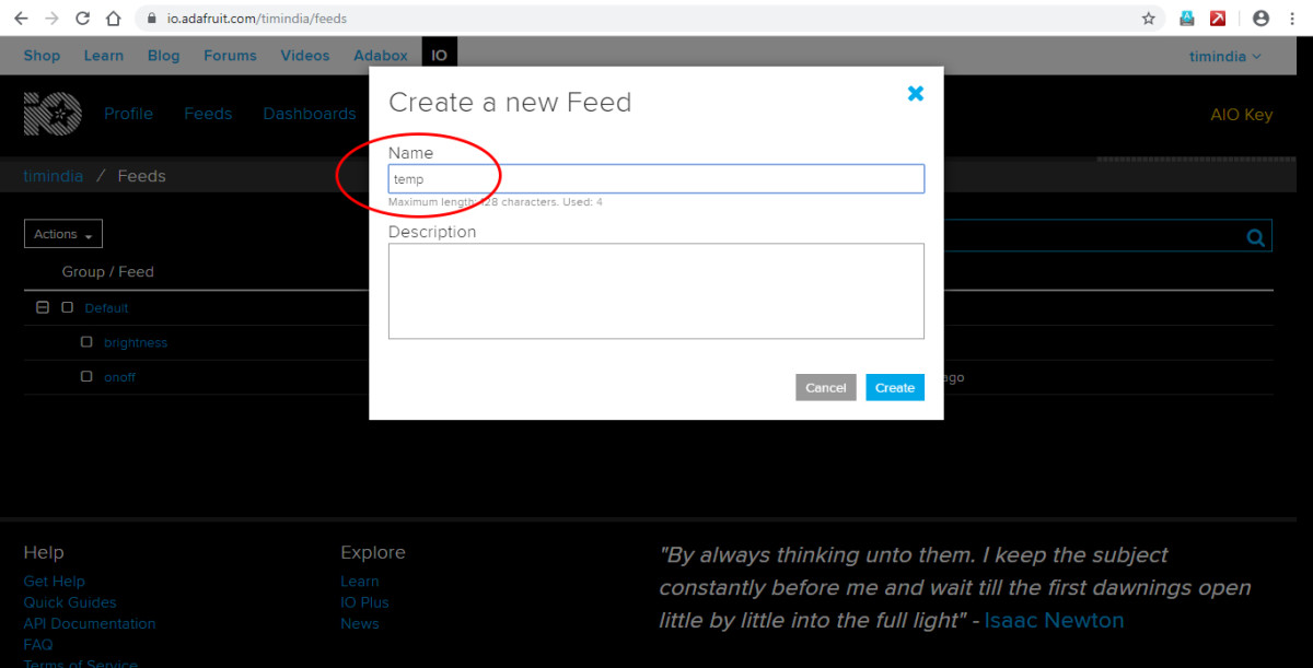 Naming your new feed in the Adafruit dashboard.
