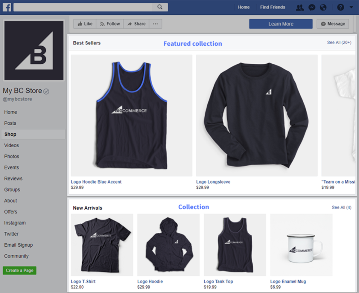 This is how the collection will be displayed on your Facebook Page