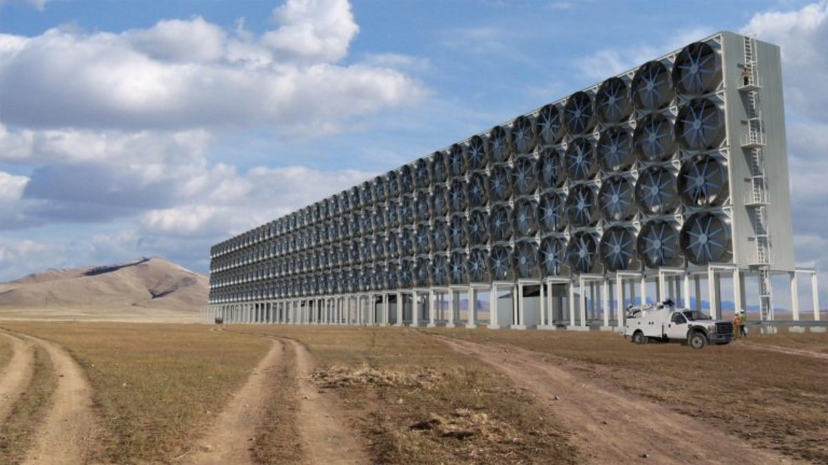 Carbon capture systems like the one above could someday be used to remove CO2 from the atmosphere.