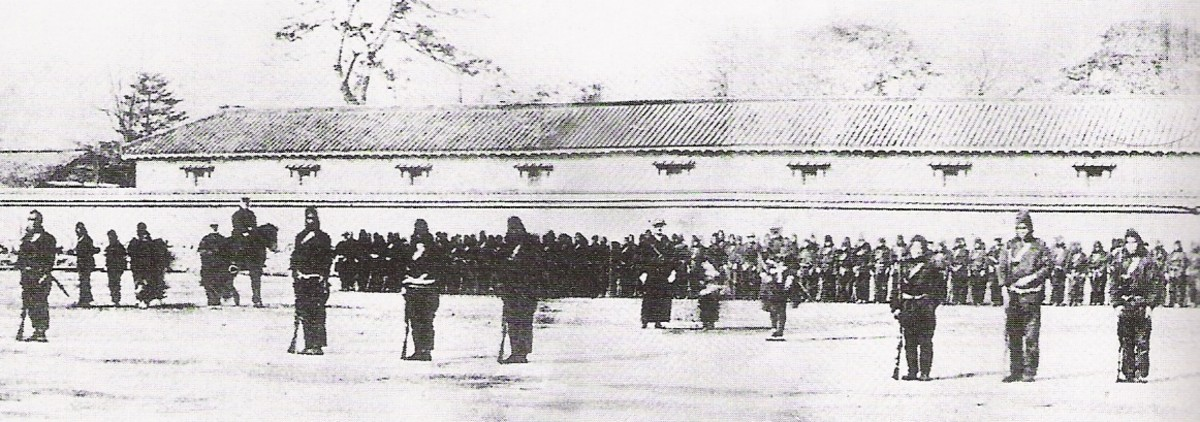 An 1868 photograph of Japanese Tokugawa Bakufu troops being trained by the French Military Mission to Japan.