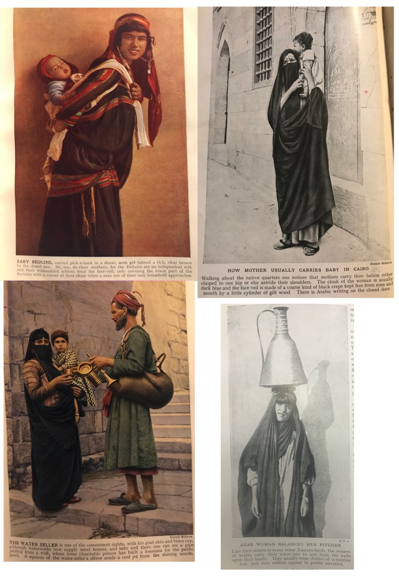 Before plastic water bottles, a man goes selling water from an animal skin.  Arab woman carries a water pot balanced on her head.